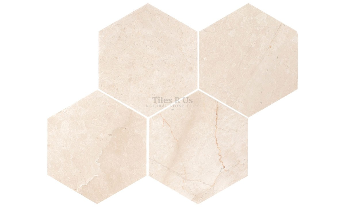 Marble Polished - Crema Marfil Hexagon 100mm (One Side) x 10mm