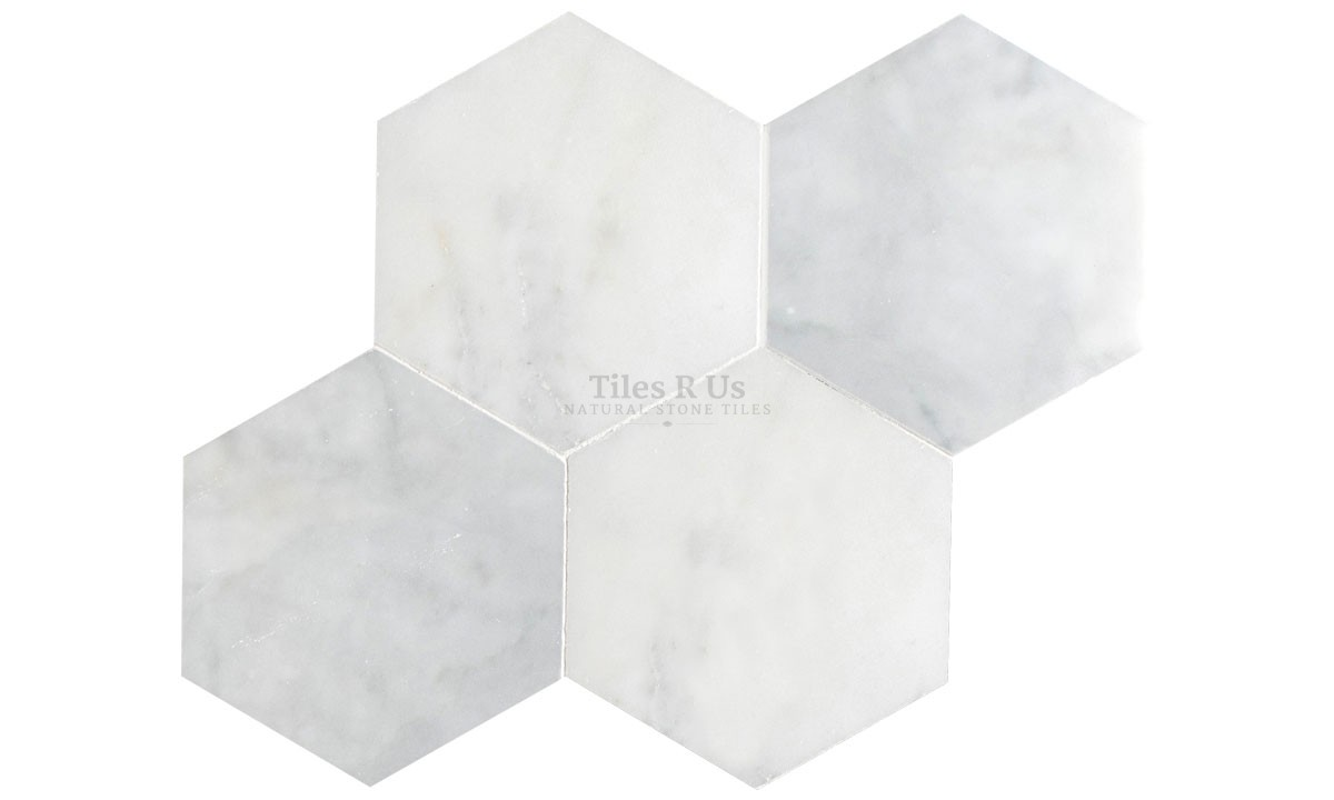 Marble Polished - Carrara White Hexagon