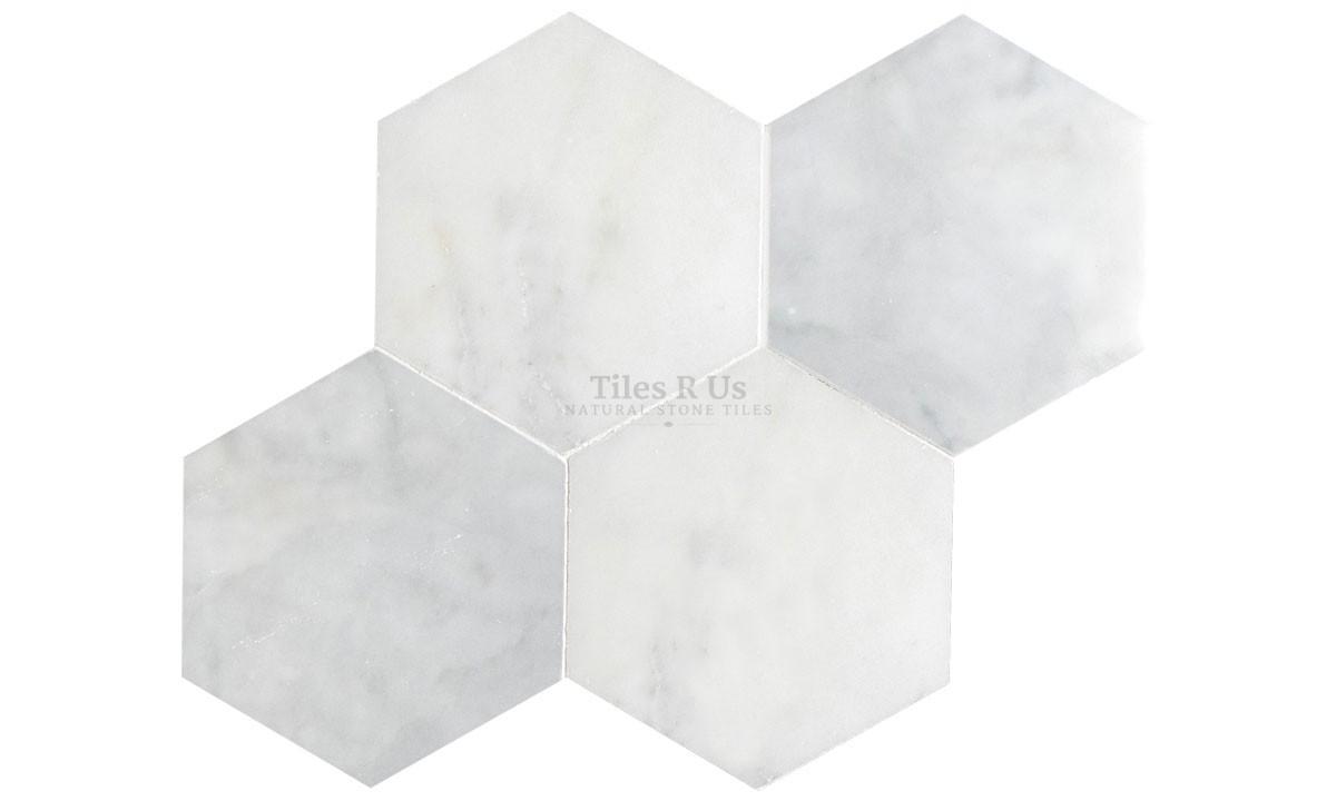 Marble Polished - Carrara White Hexagon (Send Sample)