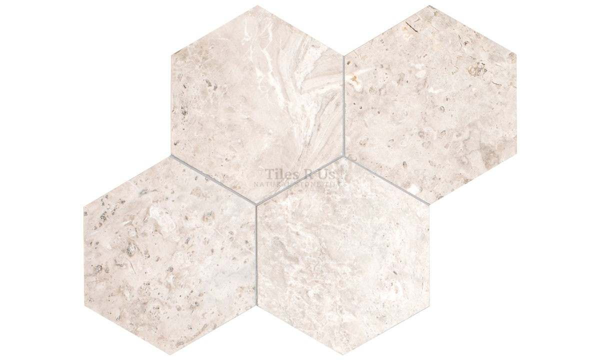 Marble Polished - Silver Light Hexagon 100mm (One Side) x 10mm