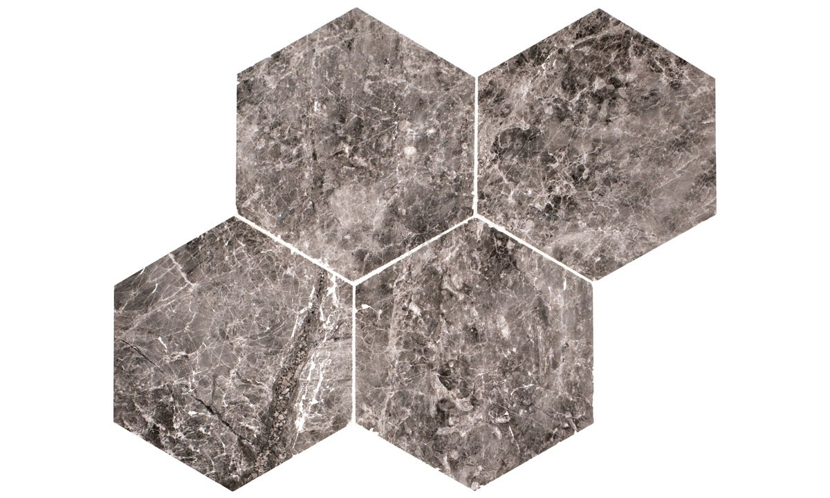 Marble Polished - Silver Moon Hexagon
