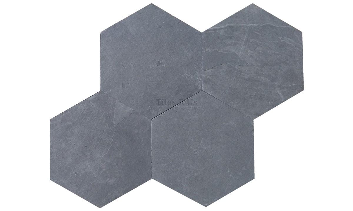 Slate - Brazilian Black Calibrated Riven Hexagon 150mm