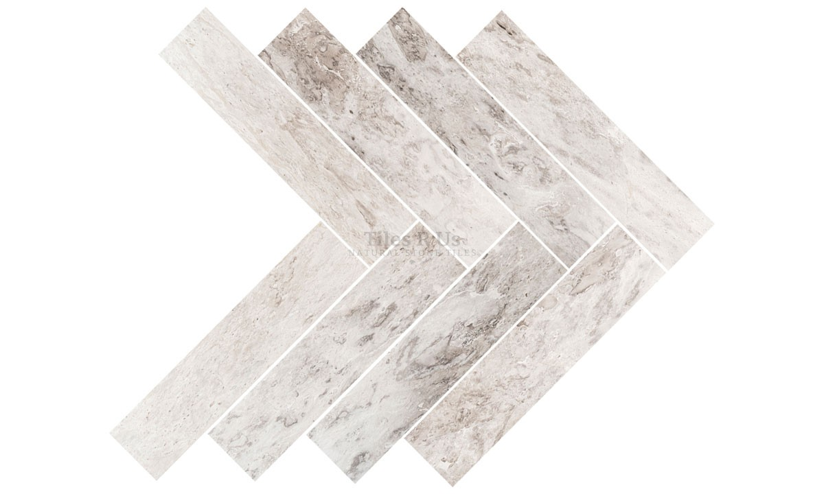 Marble Polished - Silver Light Herringbone 150x610x13mm