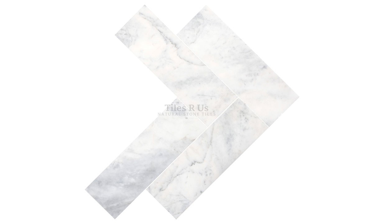 Marble Polished - Carrara White Herringbone