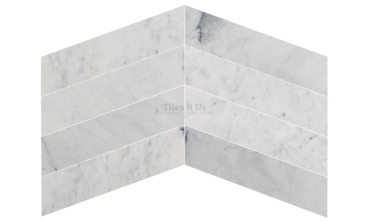 Marble Polished - Carrara White Chevron 150x610x13mm
