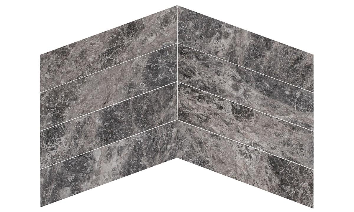 Marble Polished - Silver Moon Chevron 150x610x13mm
