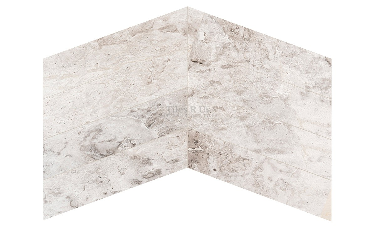 Marble Polished - Silver Light Chevron 150x610x13mm