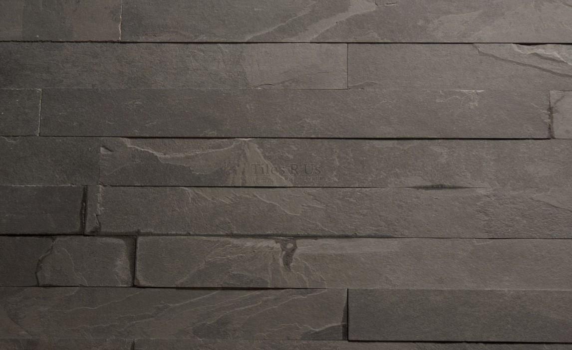 Marble Polished - Brazilian Black Calibrated Riven Herringbone 60x400x10mm