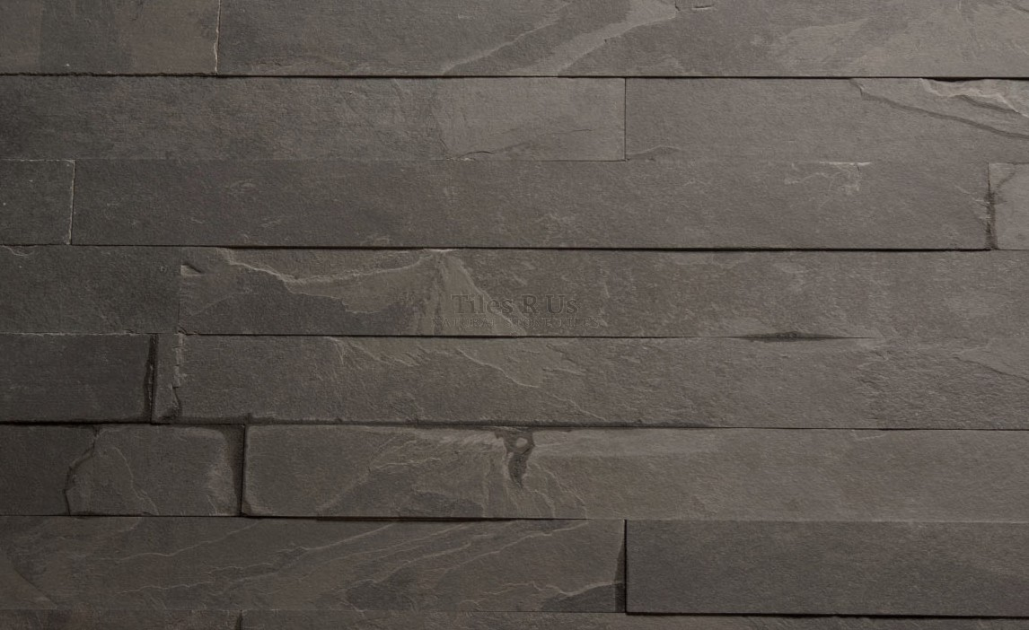 Marble Polished - Brazilian Black Calibrated Riven Herringbone