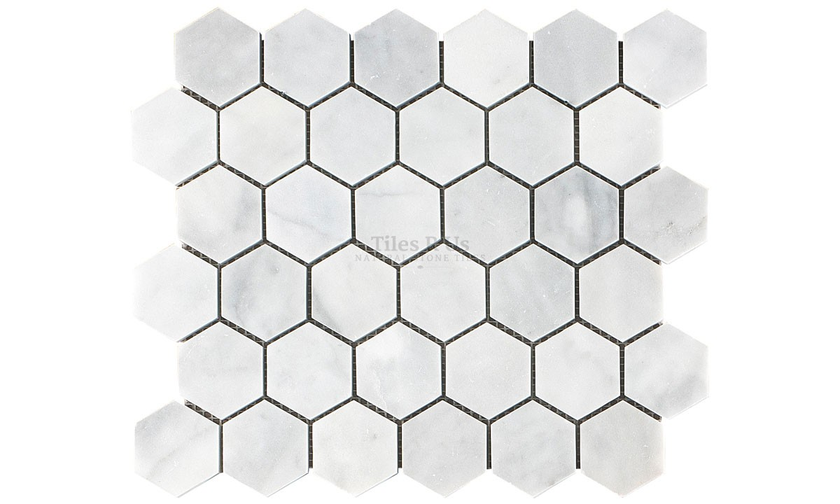 Mosaic Marble Honed - Carrara White Hexagon
