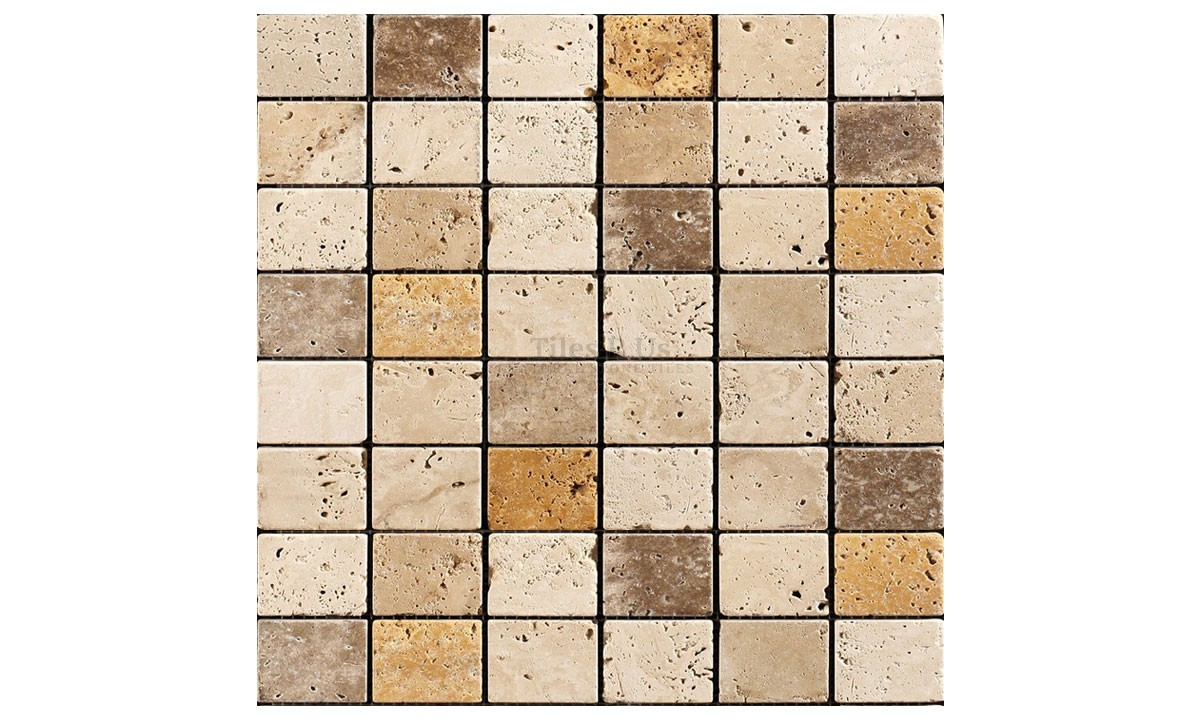Mosaic Travertine Mixed Tumbled - Classico Giallo Noce 48x48