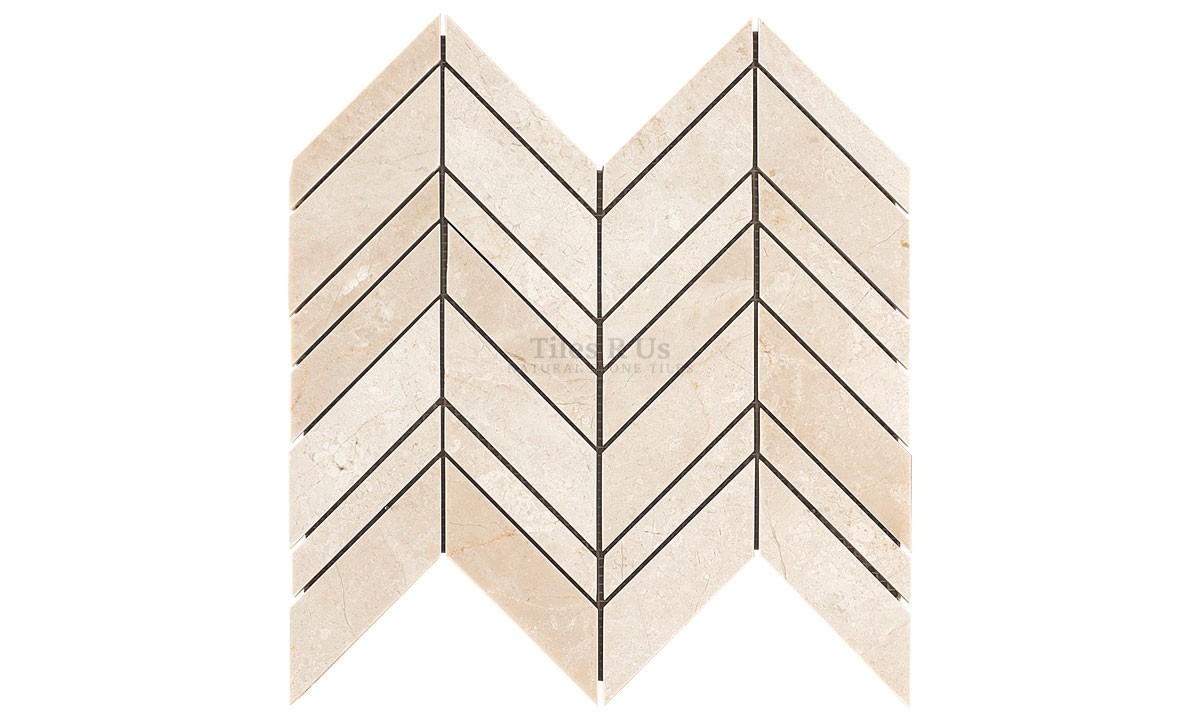 Mosaic Marble Polished - Crema Marfil Select Chevron (Send Sample)