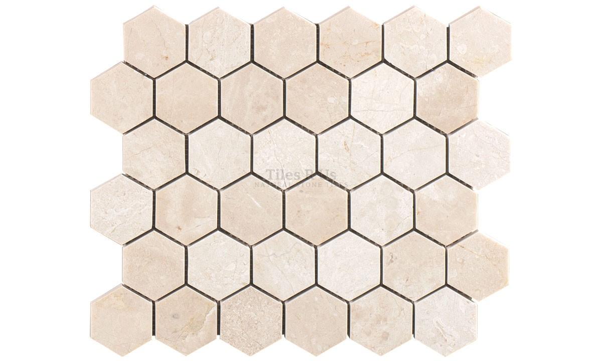 Mosaic Marble Honed - Crema Marfil Select Hexagon 265x305x10mm