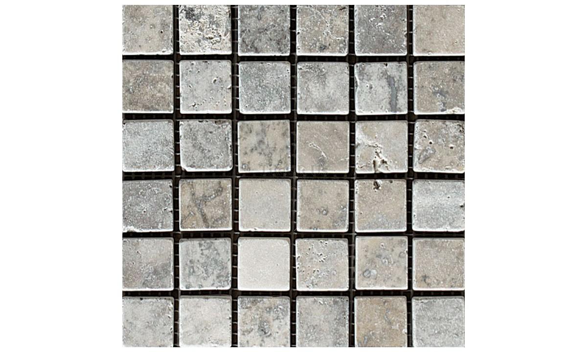 Mosaic Travertine Tumbled - Silver 23x23