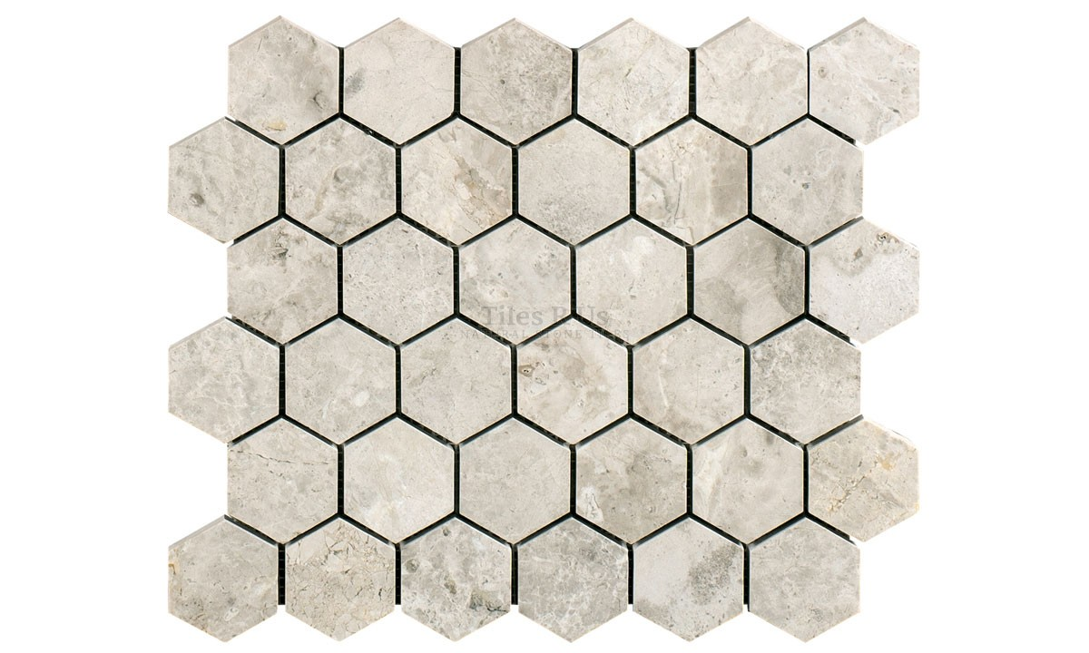 Mosaic Marble Honed - Silver Light Hexagon