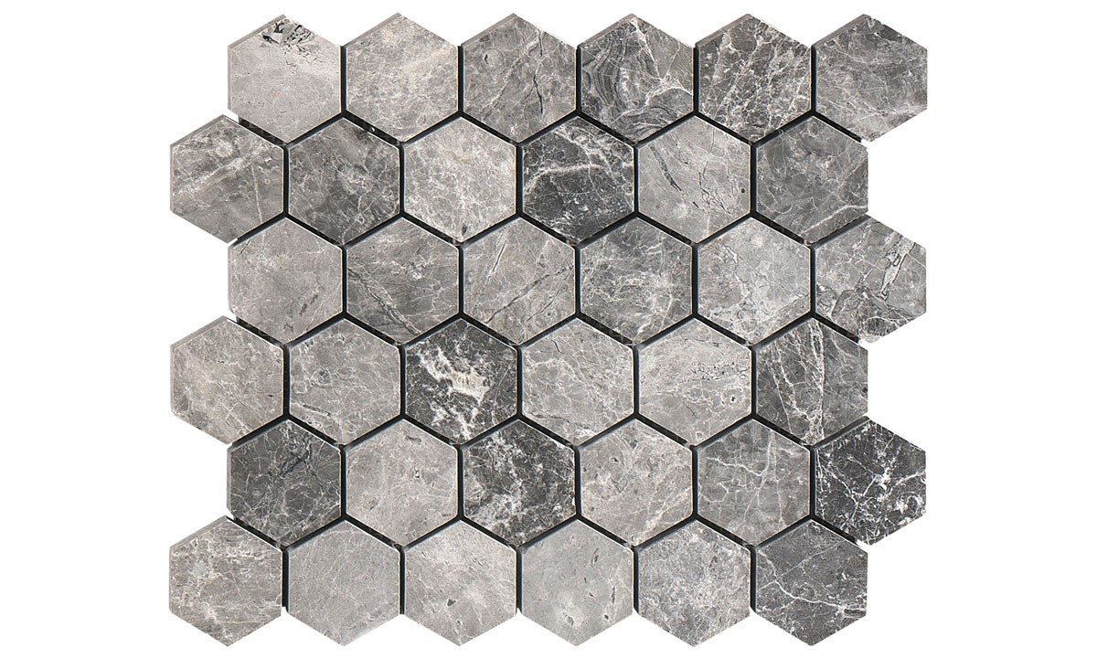Mosaic Marble Polished - Silver Moon Hexagon (Send Sample)