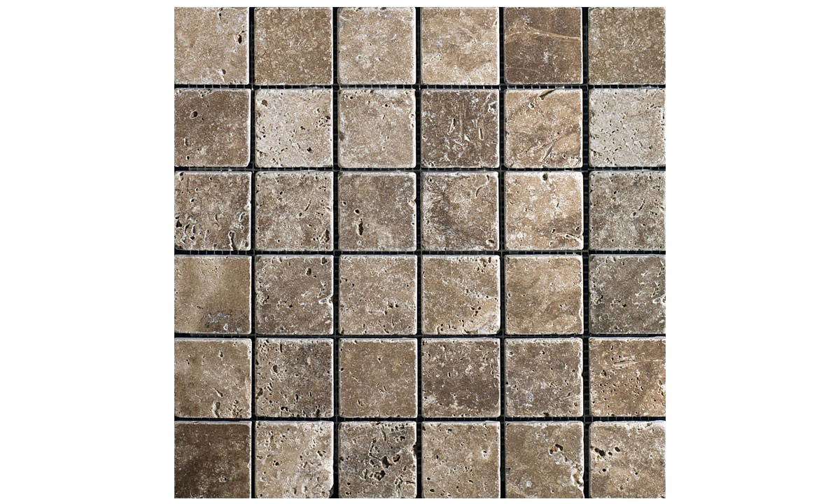 Mosaic Travertine Tumbled - Siva Noce 48x100 Brick