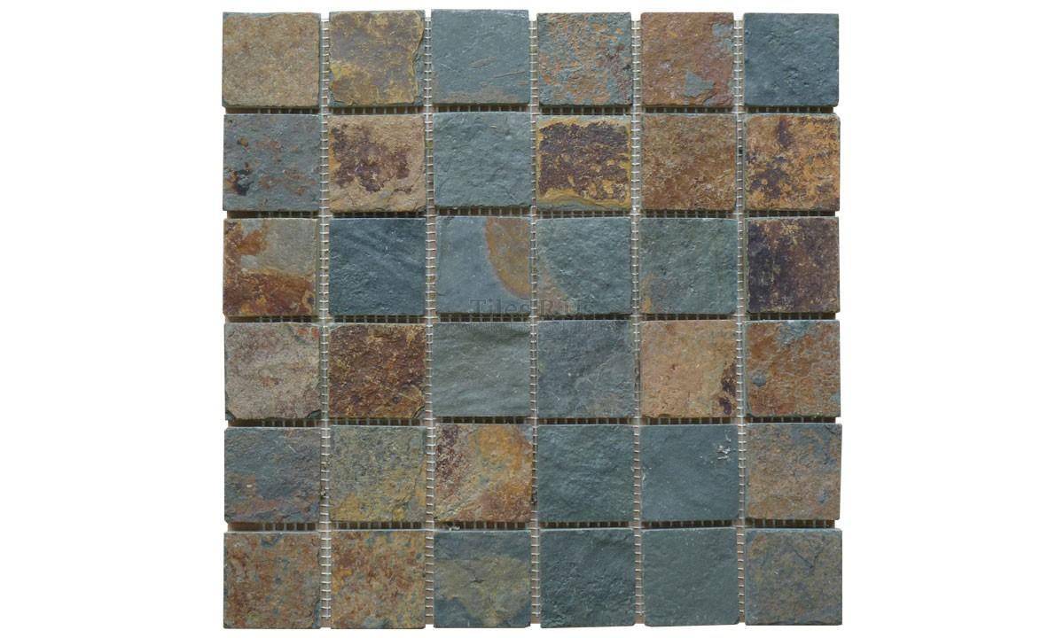 Mosaic Slate Multicolour Riven 48x48