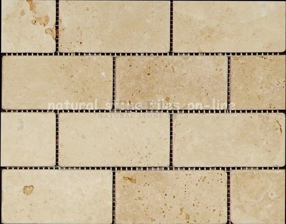Mosaic Travertine Tumbled Lydia Classico (Squares & Brick)