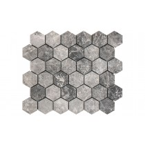 Mosaic Marble Honed - Silver Moon Hexagon